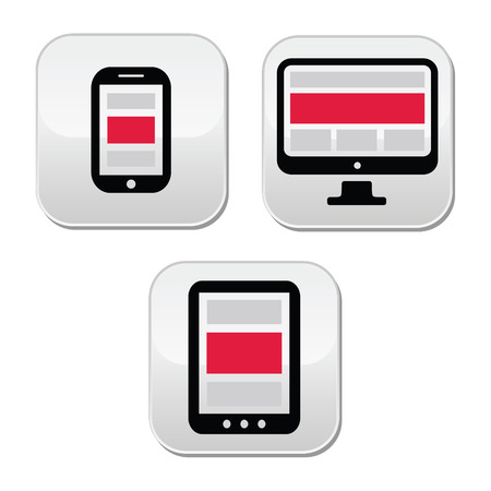 Responsive design for web - computer screen, smartphone, tablet buttons set Vector