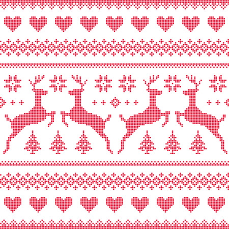 Winter, Christmas red seamless pixelated pattern with deer and hearts Vector