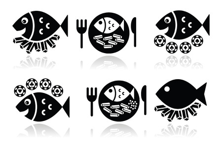 fish and chips: Fish and chips vector iconen set Stock Illustratie