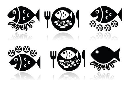 fish and chips: Iconos vectoriales de pescado y patatas fritas establecen