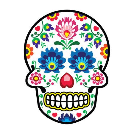 Mexican sugar skull - Polish folk art style - Wzory Lowickie, Wycinanka