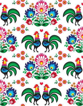 Seamless Polish folk art pattern with roosters Vector