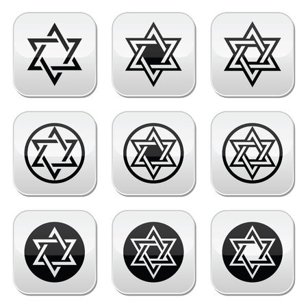 Jewish, Star of David icons set isolated on white  Vector