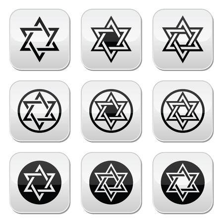 etoile juive: Juif, �toile de David ic�nes ensemble isol� sur blanc
