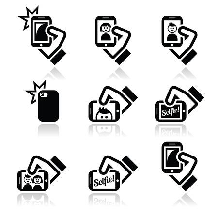 Selfie, nemen van foto's met smartphones voor sociale media pictogrammen instellen