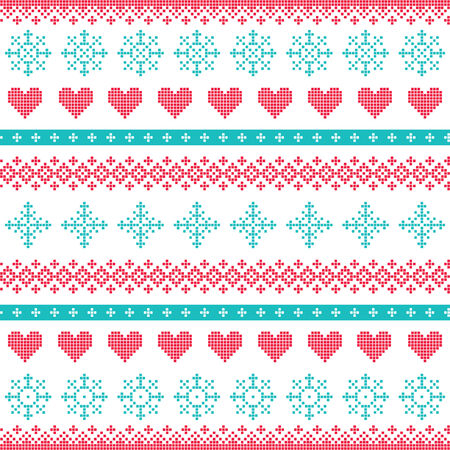 pixelated: Winter, Christmas seamless pixelated pattern with snowflakes and hearts
