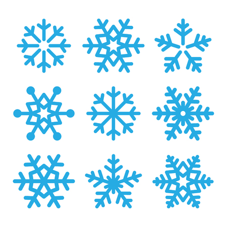 Snowflakes blue icons set  Vector