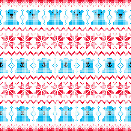 Winter, Christmas red and bear seamless pixelated pattern with polar bears Vector