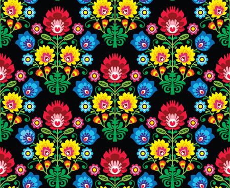 シームレスなポーランド語民俗芸術の花柄のパターン