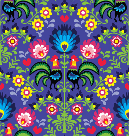 folk art: Seamless Polish folk art pattern with roosters