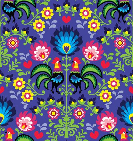 Seamless Polish folk art pattern with roosters 版權商用圖片 - 29684887