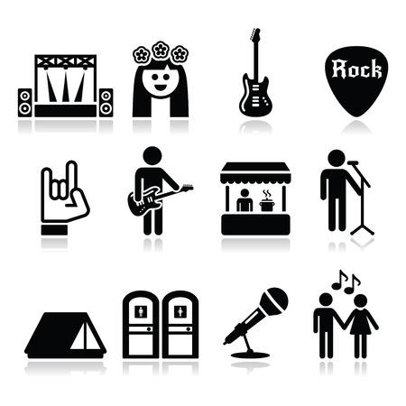 Hudební festival, živý koncert ikony nastavit Ilustrace