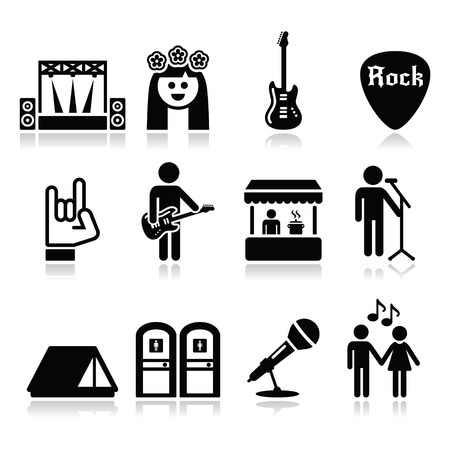 singer with microphone: Music festival, live concert icons set Illustration