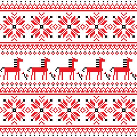Ukrainian Slavic folk art embroidery pattern with horses  Vector
