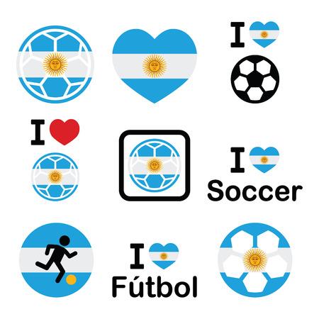 offside: I love Argentine football, soccer icons set