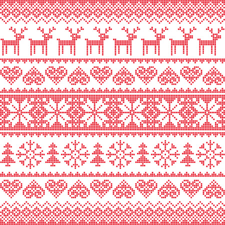 Winter, Christmas red seamless pixelated pattern with deer Vector