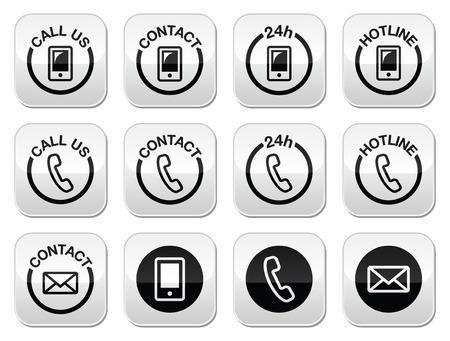 Contact, hotline, 24h help buttons set  Vector