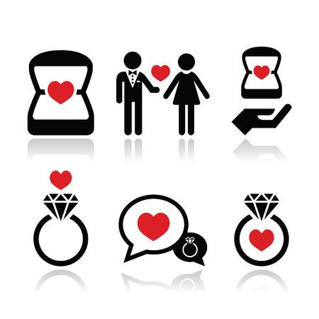 coeur en diamant: Fiançailles, bague de diamant dans le vecteur boîte icônes ensemble Illustration