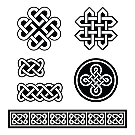 english countryside: Celtic Irish patterns and braids - vector