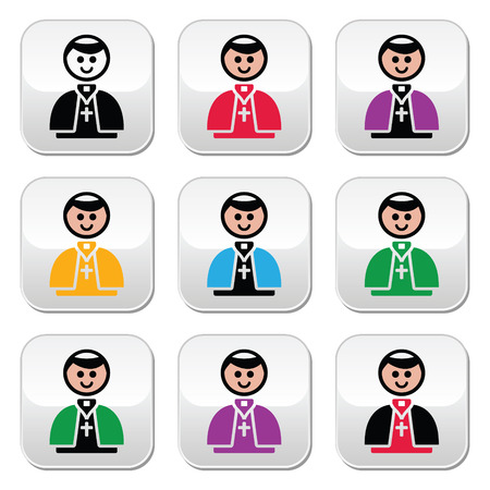 pope: Catholic church pope vector buttons set