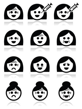 Women aging - wrinkles, Botox injections icons set  Vector