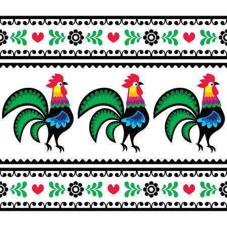 Seamless Polish folk art pattern with roosters - Wzory lowickie, Wycinanka  Vector