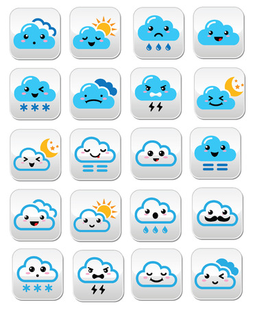 Cute cloud - Kawaii, Manga buttons with different expressions - happy, sad, angry