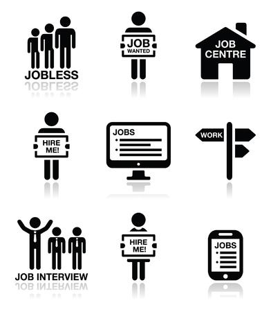 Unemployment, job searches vector icons set