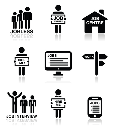 job: Unemployment, job searches vector icons set