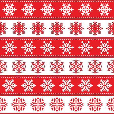 scandinavian christmas:  Winter, Christmas red seamless pattern with snowflakes