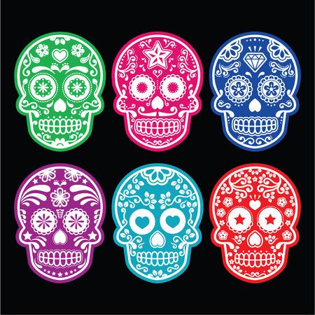 Mexican sugar skull, Dia de los Muertos colorful icons set on black  Ilustração