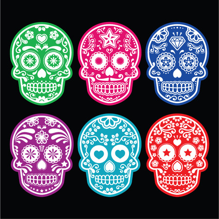 Mexican sugar skull, Dia de los Muertos colorful icons set on black  Illustration