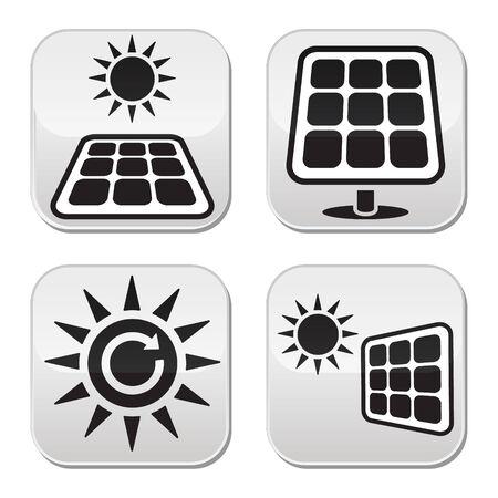 Solar panels, solar energy white buttons set Vector