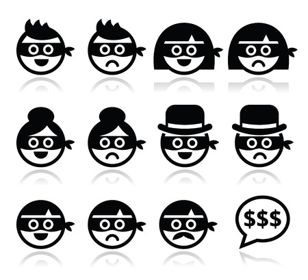 Thief man and woman faces in masks icons set