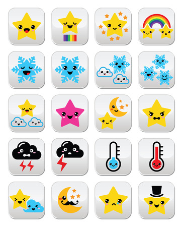 Cute weather kawaii buttons, star, rainbow, moon, snowflake, thunder and cloud Vector