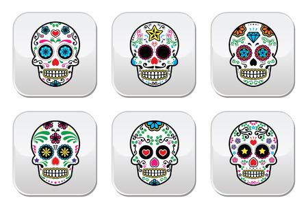 Mexican sugar skull, Dia de los Muertos buttons Vector