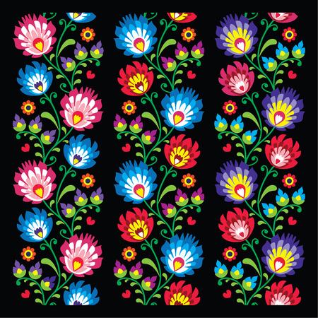 Seamless long Polish folk art pattern - wzory lowickie, wycinanka    Vector