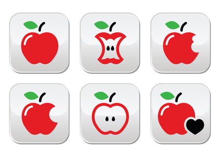 Red apple, apple core, bitten, half vector buttons