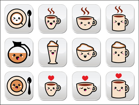 brown sugar: Cute coffee, cappuccino and espresso kawaii buttons set - vector