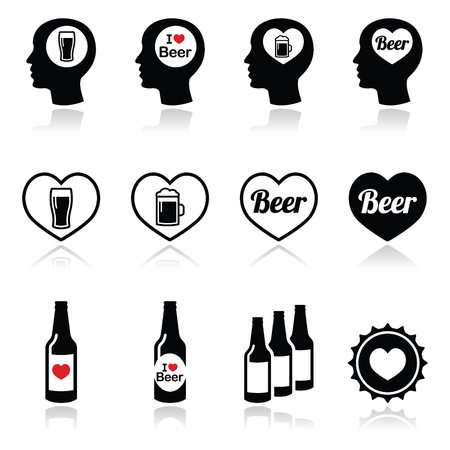 Man loving beer vector icons set Vector