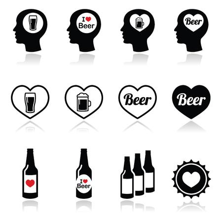 Man loving beer vector icons set Vector