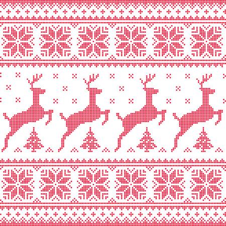 sueter: Invierno, Navidad patrón pixelado rojo sin costuras con ciervos con árboles Vectores
