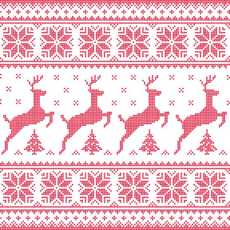 Winter, Christmas red seamless pixelated pattern with deer with trees Vector