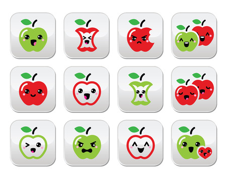 Cute red apple and green apple kawaii buttons set Vector