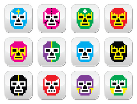 Lucha Libre, luchador pixelated Mexican wrestling masks buttons Vector
