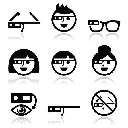 eye glass: Google glass vector icons set