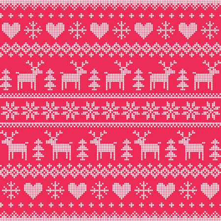 Winter, Christmas white seamless pixelated pattern with deer and hearts on red Vector