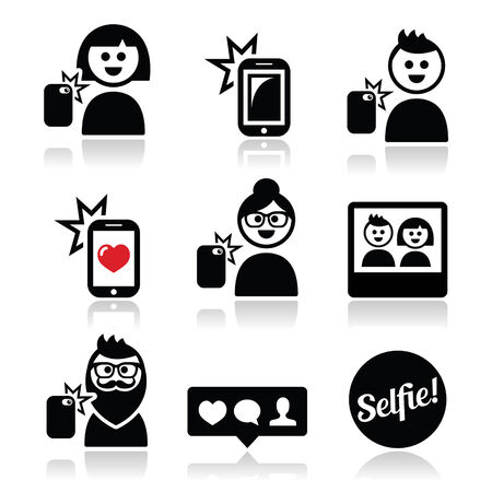 Man, woman taking selfie with mobile or cell phone icons set Vector