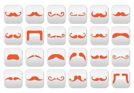 Ginger moustache or mustache vector buttons set Vector