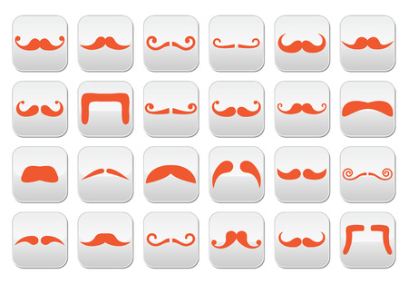 french fancy: Ginger moustache or mustache vector buttons set